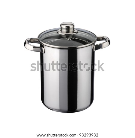 pot for cook the spaghetti of steel stainless, isolated on white background