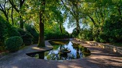 Pot inside Sigurtà Park. It's a naturalistic park of 600.000 square meters opened to public in 1978. Valeggio sul Mincio, Verona, Italy.