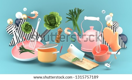 Pot, kettle, chopping board, knife, pan among vegetables and shrimp on a blue background.-3d rendering. stock photo
