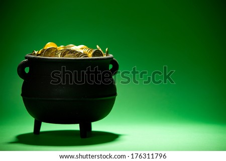 Pot Of Gold: Side View of Cauldron with Treasure