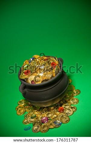 Pot Of Gold: Treasure Cauldron and Lots of Copyspace