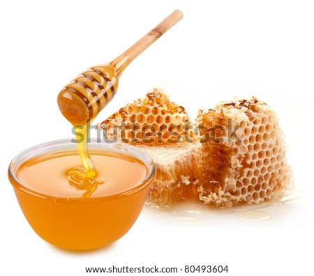 stock photo : Pot of honey and wooden stick. Isolated on a white background.