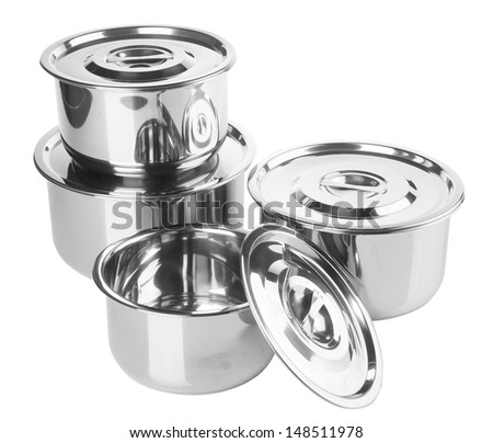 pot stainless steel pot on background