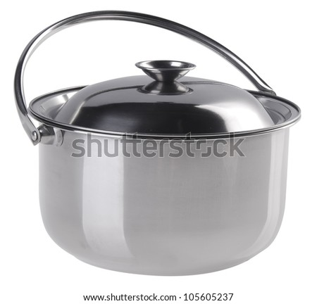 pot, Stainless steel pot on white background