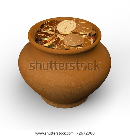 pot with gold coins. 3d illustration