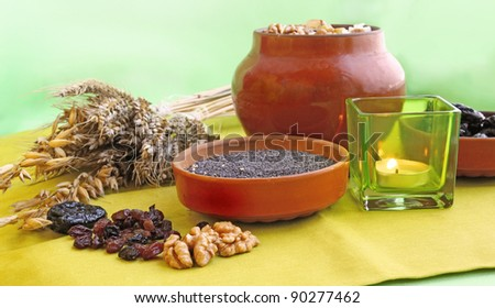 Pot with porridge which is prepared in eve Christmas from a wheat