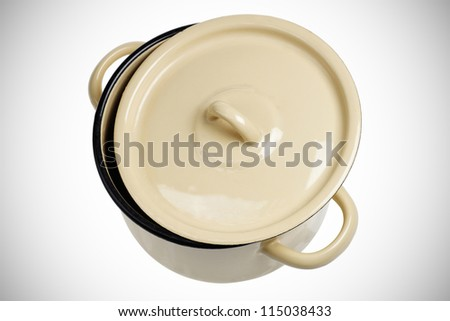 pot with semi-opened top. isolated in white background