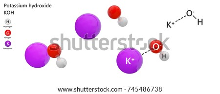 Potassium hydroxide is an inorganic compound with the formula KOH or HKO. It is commonly called caustic potash. 3d illustration. The molecule is represented in different structures.