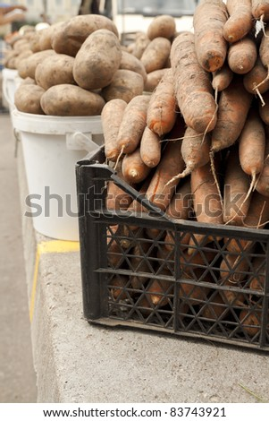 Potato and carrot at local market