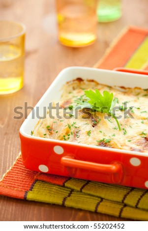 potato and kohlrabi gratin with cheese