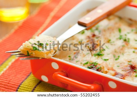 potato and kohlrabi gratin with cheese