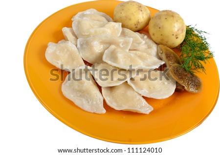 potato and mushrooms dumplings on the dish
