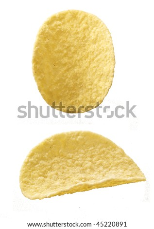 Potato chip on the white background