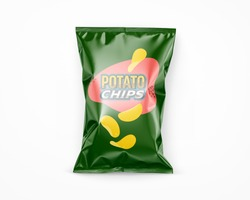 Potato chips advertisement bag stock image