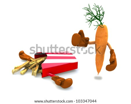 potato chips and carrot that fight, the winner is the carrot with vitamins