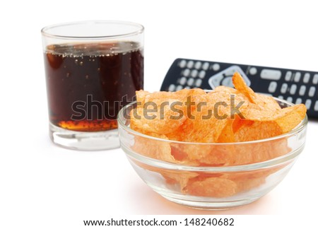 potato chips and cola and remote controll with clipping path