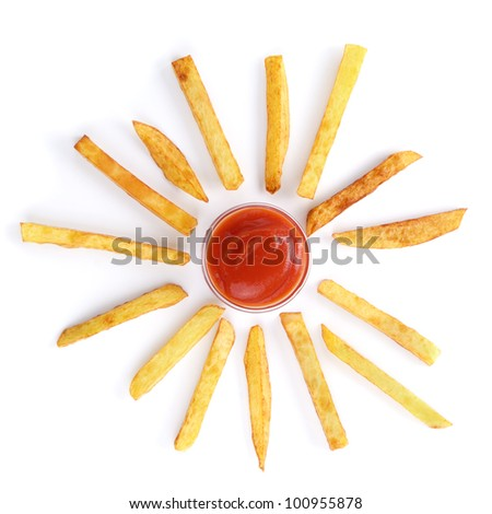 Potato chips and ketchup over white background