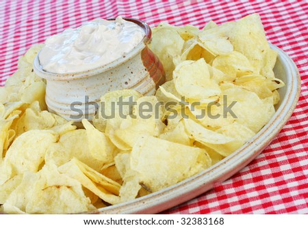 Potato Chips and Onion Dip - stock photo