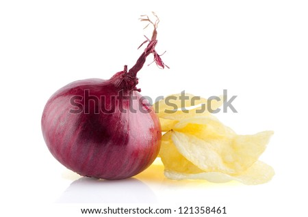 Potato chips and onion isolated on white background.