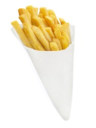 Potato chips and paper cone isolated against white background