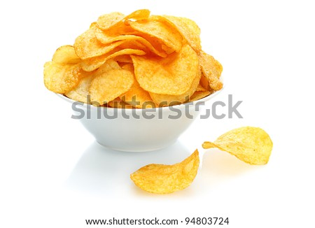 Potato chips bowl on a white background