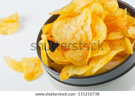 Potato chips. Close-up