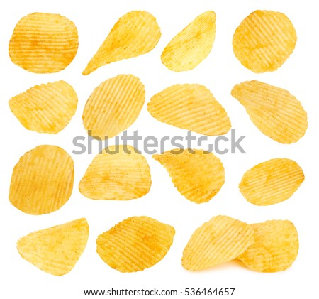 potato chips closeup isolated on a white background