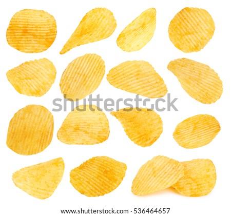 potato chips closeup isolated...