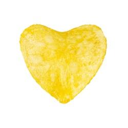 Potato chips, heart shaped isolated on white background. Heart shaped potato chips isolated on white background