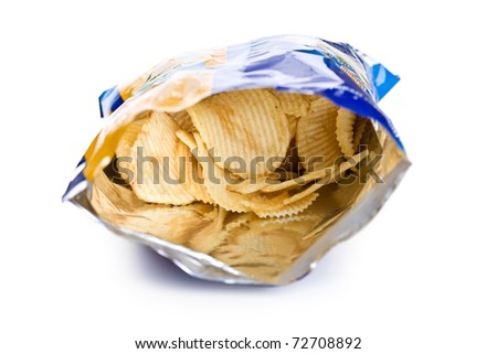 potato chips in bag on white background