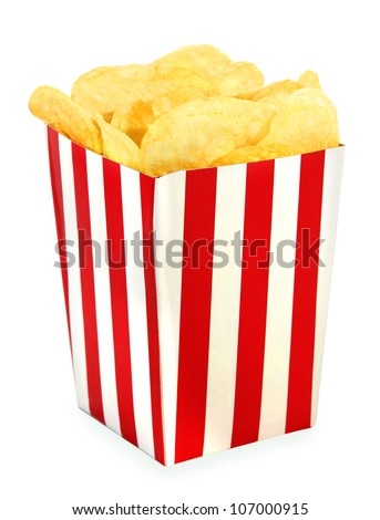 Potato chips in red white cardboard box for cinema