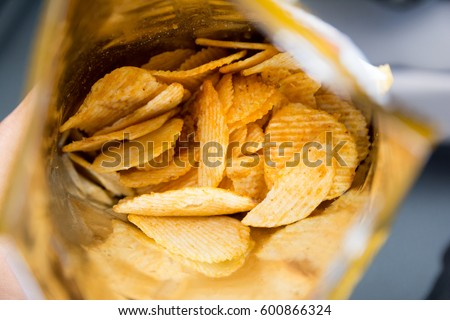 potato chips is snack in bag...