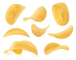Potato chips isolated on a white background. Collection.