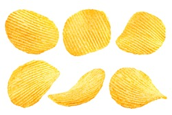 potato chips isolated on white background, clipping path, full depth of field
