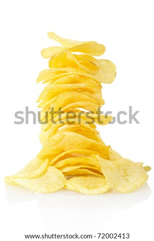 Potato chips isolated on white, clipping path included
