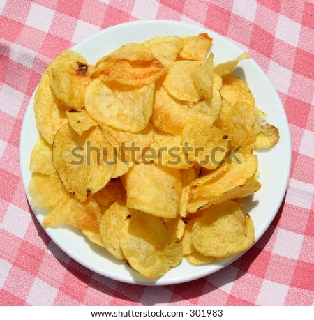 Potato chips on a table seen from above