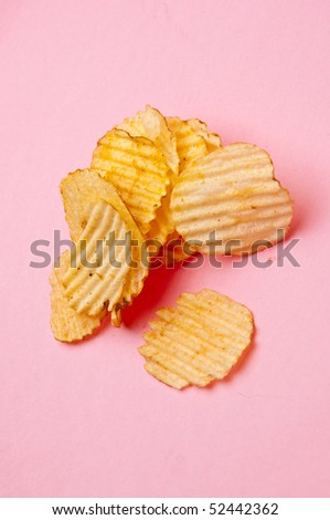 Potato Chips on Pink Junk Food Concept Image.