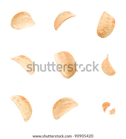 potato chips with different angles isolated on white background