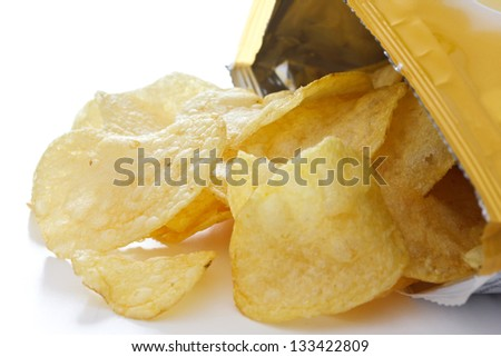 Potato crisp packet opened with crisps spilling out