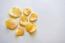 Potato crisps or potato chips with copy space on the right side.