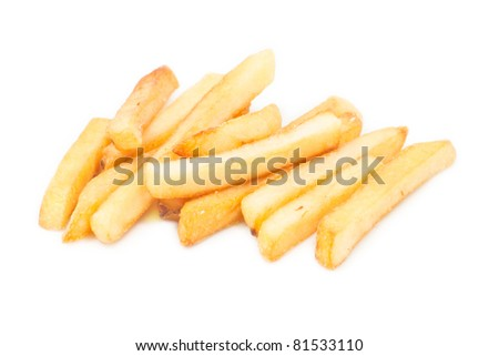 Potato, french fries on white background