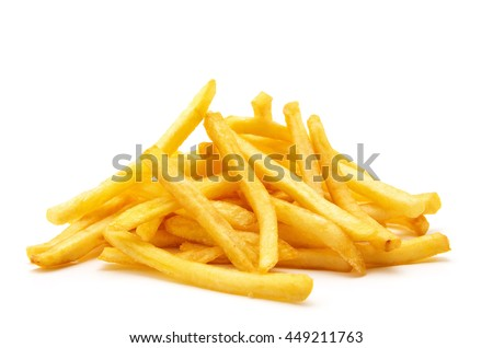 potato fry on white isolated background #449211763