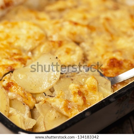Potato gratin with cheese on rustic background