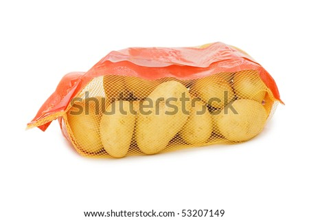 Potato in a bag isolated on white