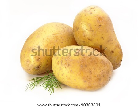 Potato isolated on white background. Vegetable - potatoe for newspaper market.