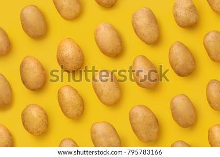 Photo of  Potato on a colored background. Pattern of potato. Natural potato