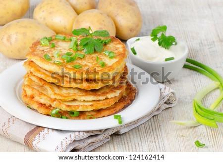 Potato Pancake on a wooden table