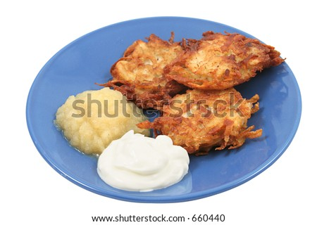 Potato pancakes (latkes) for Hanukah, served with sour cream and applesauce. Isolated.