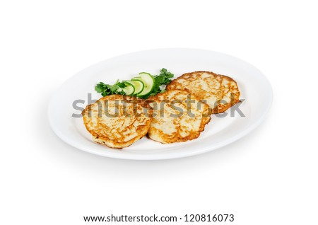 potato pancakes with a pig. isolated on white background - stock photo
