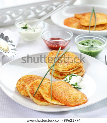 Potato pancakes with three different dips